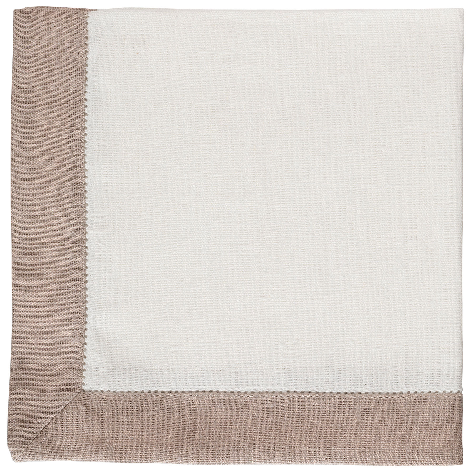 NAPKIN WITH BORDER <br />natural white / sand