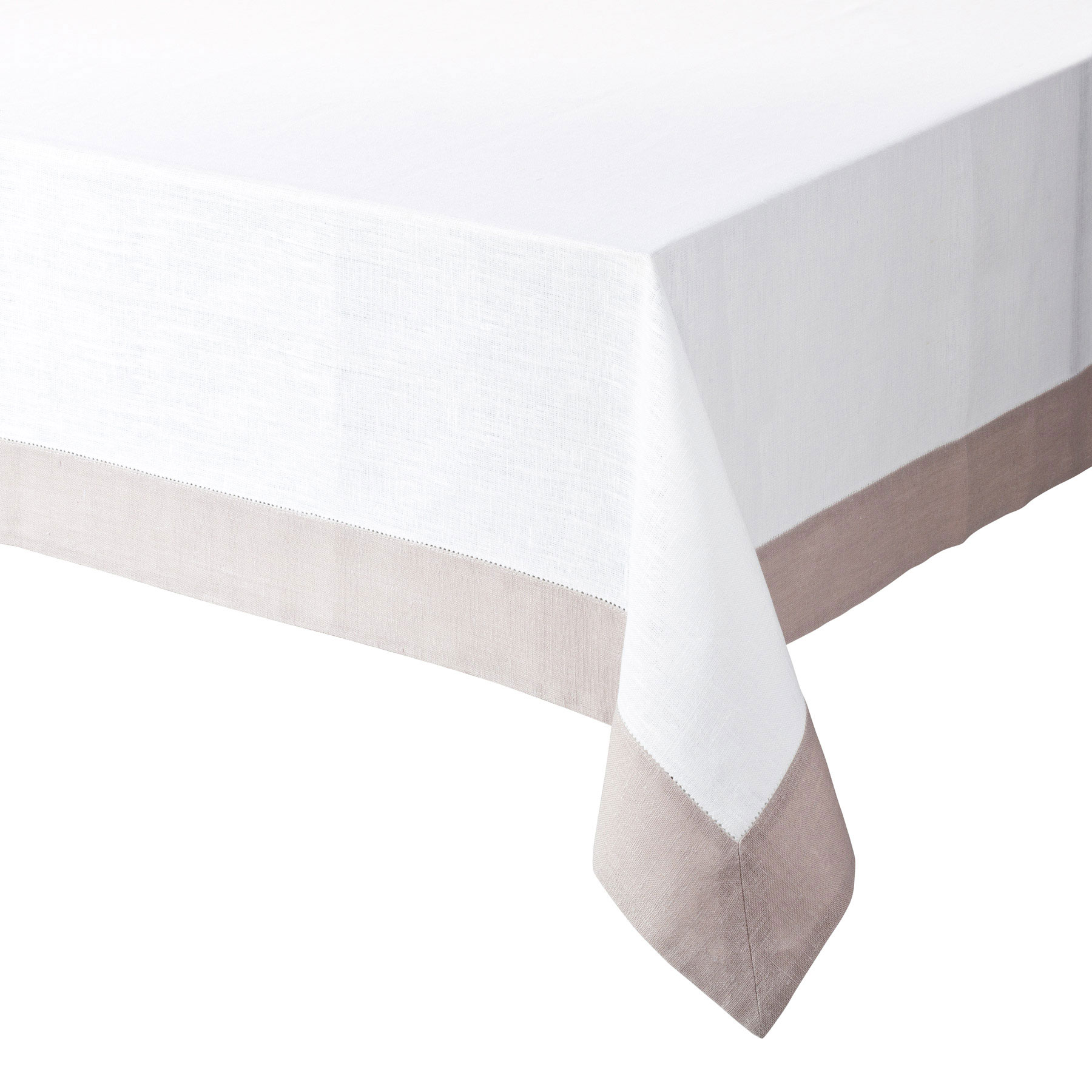 TABLECLOTH WITH BORDER<br />natural white and sand