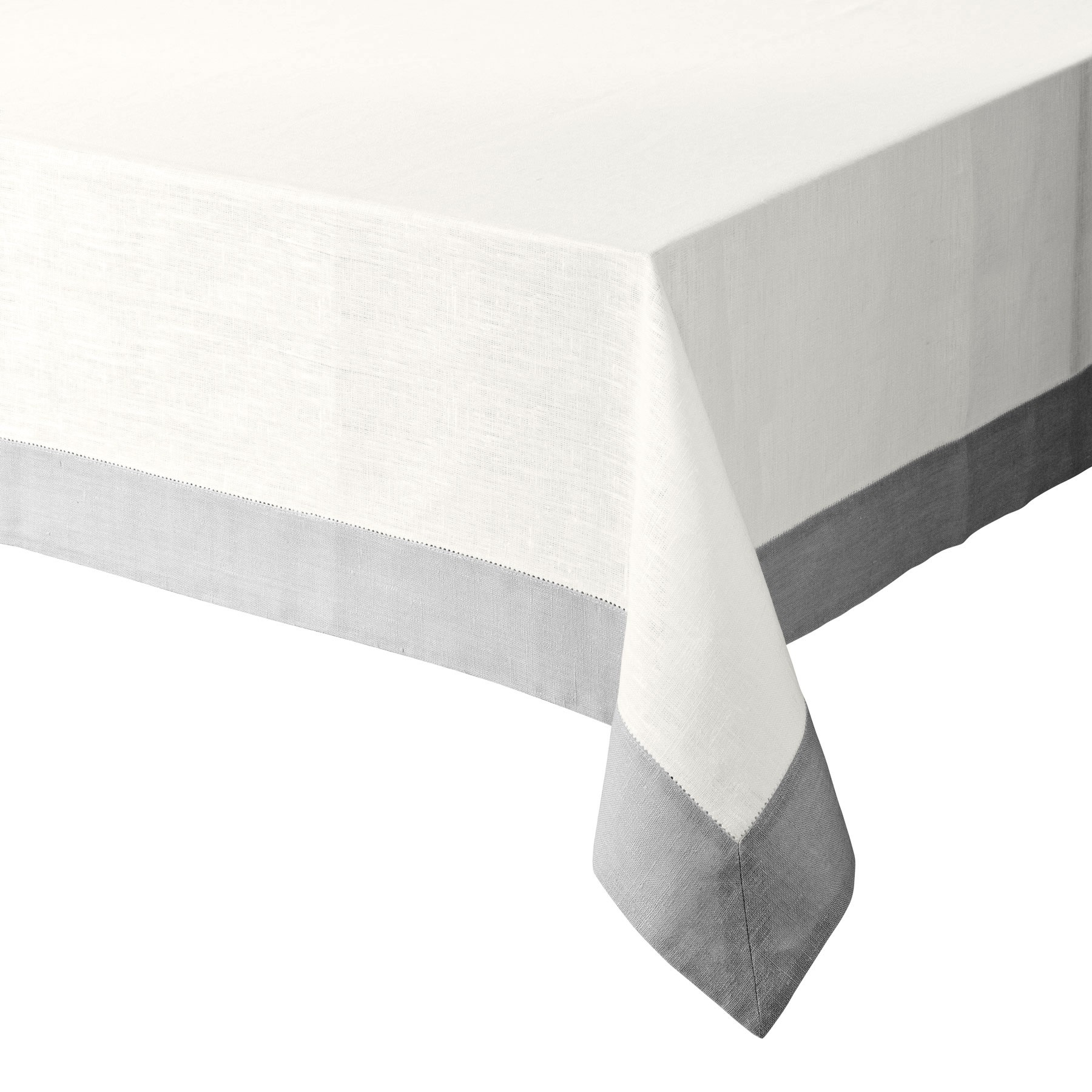 TABLECLOTH WITH BORDER<br />natural white and light gray
